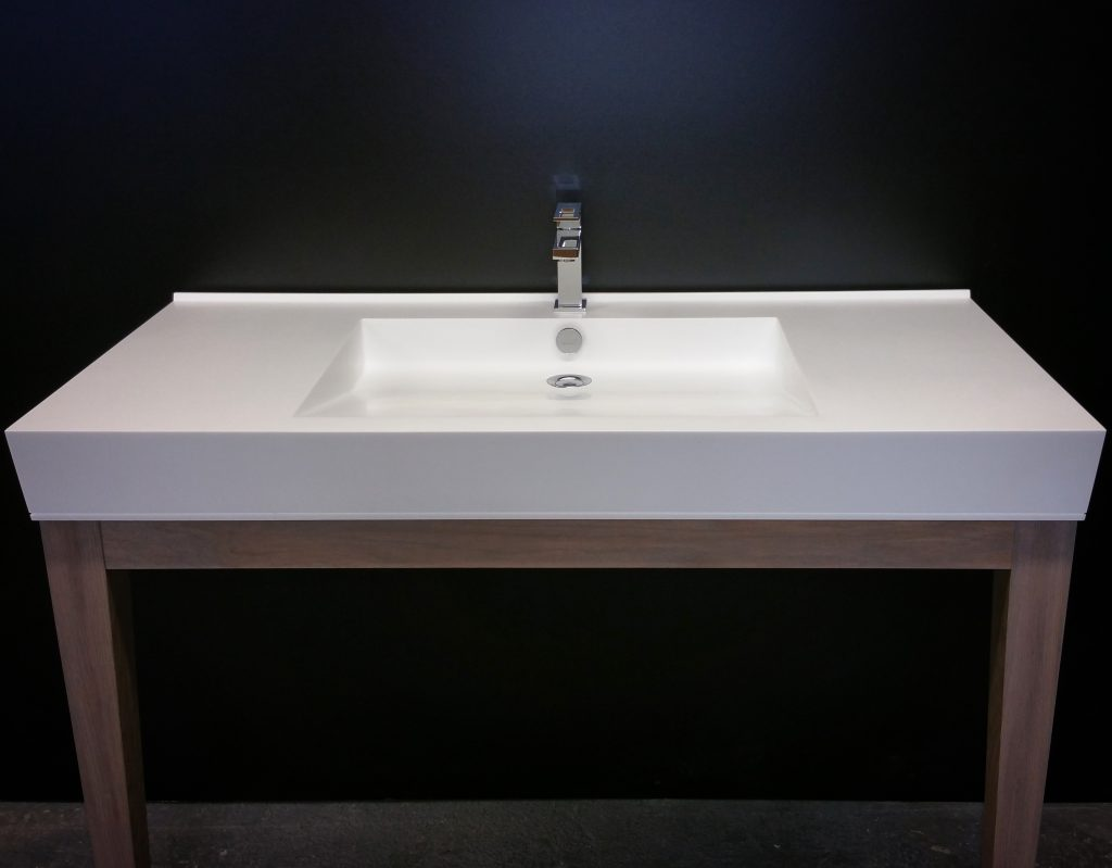 Vanity With single tap and wooden base